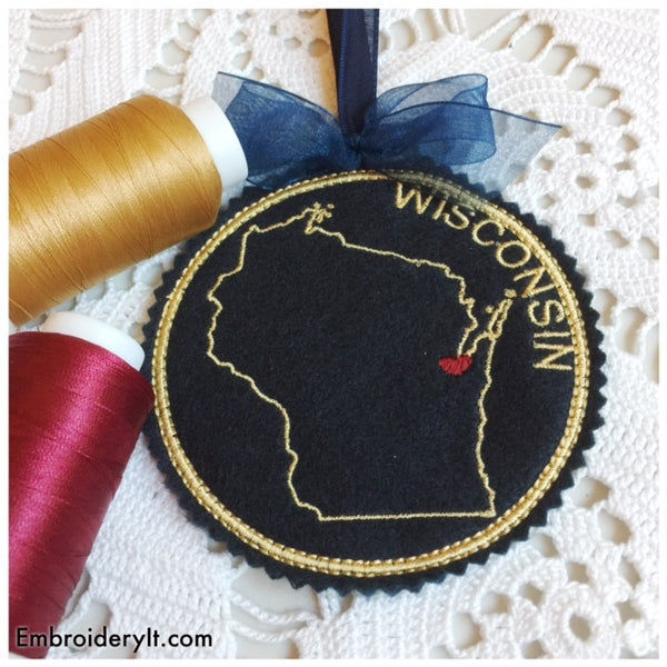 machine embroidery in the hoop Wisconsin Christmas ornament pattern