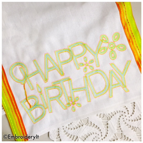 Machine embroidery birthday design set