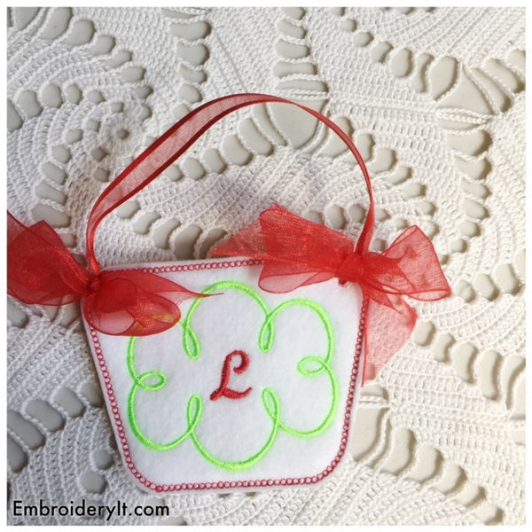 machine embroidery monogram basket pattern made in the hoop