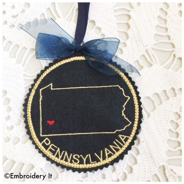 Pennsylvania machine embroidery in the hoop Christmas ornament design