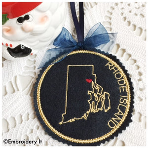 Rhode Island Christmas Ornament in the hoop machine embroidery design