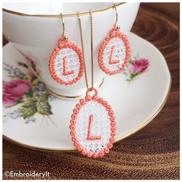 Free Standing Lace Jewelry Set Letter L Embroidery It