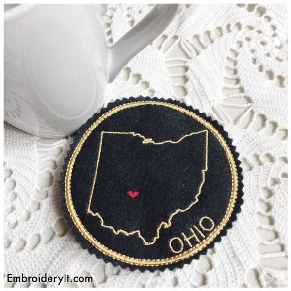 machine embroidery in the hoop Ohio coaster design