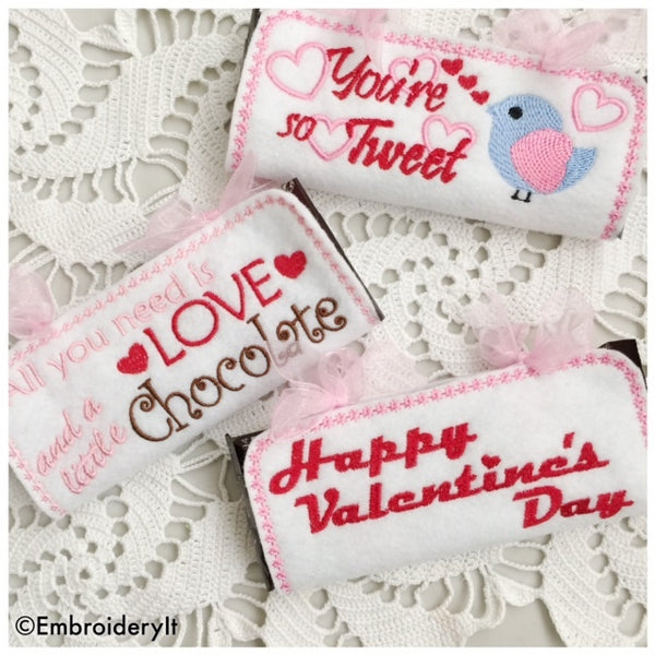 machine embroidery in the hoop Valentine's day design candy bar holders