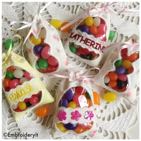 Easter candy holder treat bags machine embroidery pattern