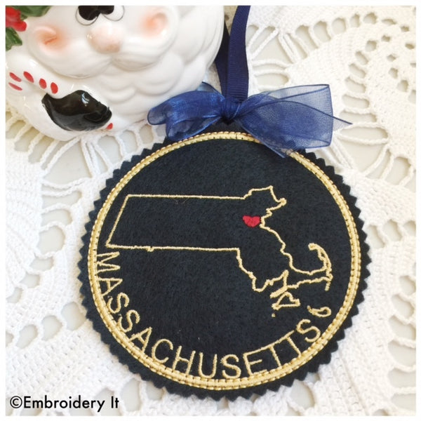 In the hoop Massachusetts Christmas ornament