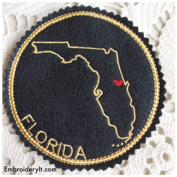 In the hoop Florida ornament