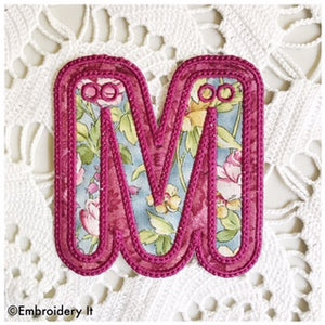 Machine embroidery letter m applique pattern