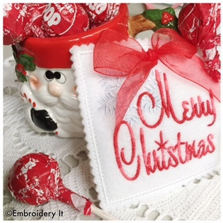 machine embroidery in the hoop Christmas lollipop holder designs