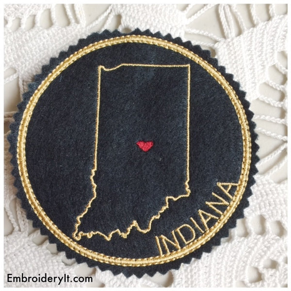machine embroidery Indiana coaster