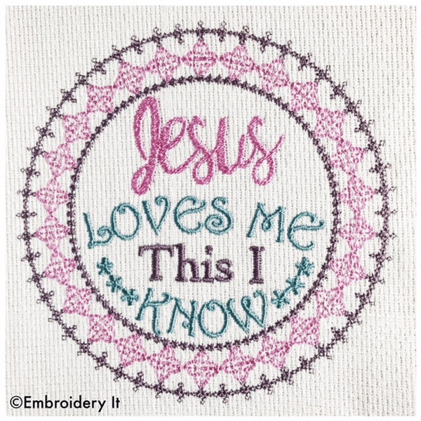 Machine embroidery Jesus loves me design