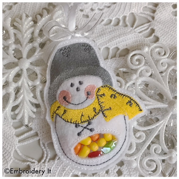 candy holder sewing snowman in the hoop machine embroidery design