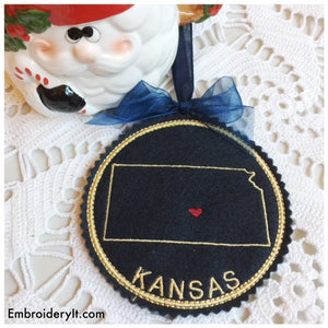 Machine embroidery Kansas coaster