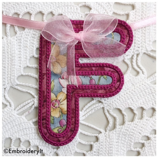 machine embroidered banner letters