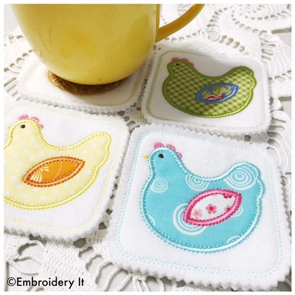 machine embroidery chicken in the hoop applique coaster