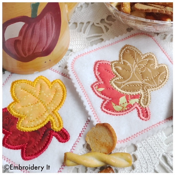 applique machine embroidery in the hoop maple leaf coaster