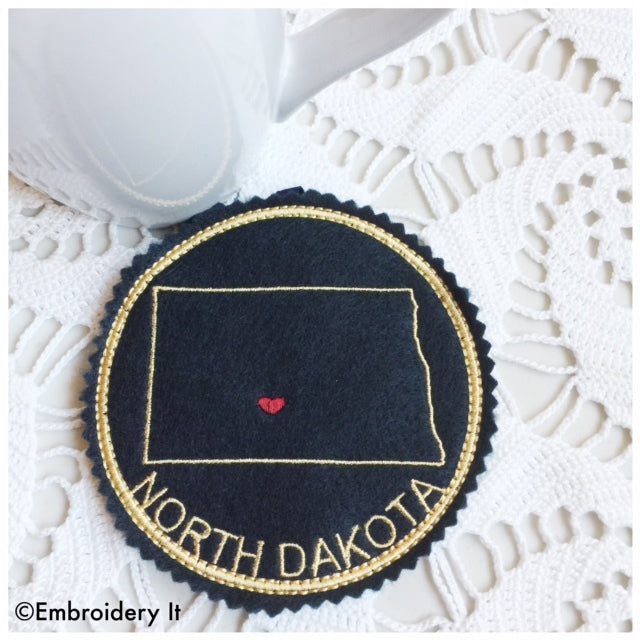 Machine embroidery North Dakota in the hoop coaster design