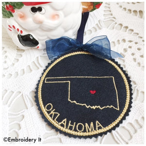 Oklahoma Machine embroidery Christmas ornament
