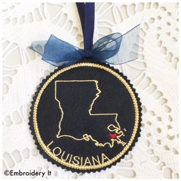 Machine embroidery I heart Louisiana ornament