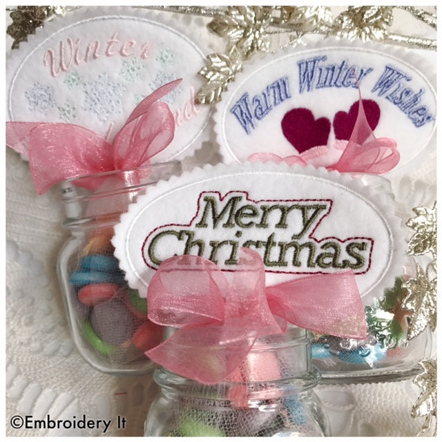 Christmas candy holders machine embroidery in the hoop designs