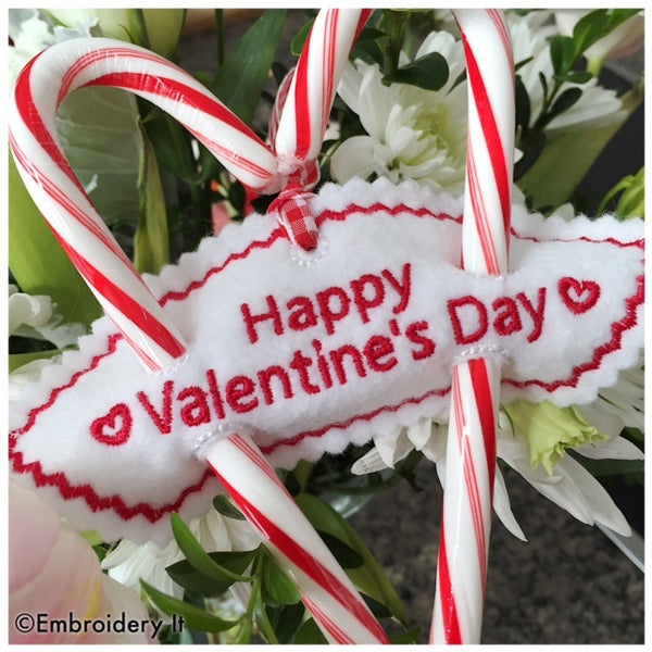 happy valentine's day machine embroidery candy holder