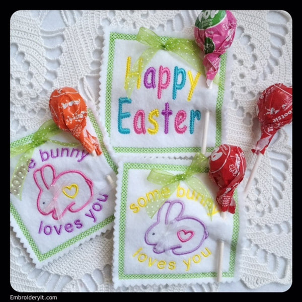 machine embroidery in the hoop Easter Lollipop Holders