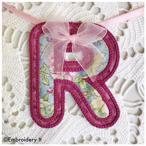 Machine embroidery alphabet banner letter R