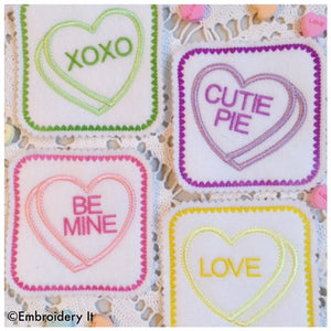 Valentine's day candy heart in the hoop machine embroidery coasters