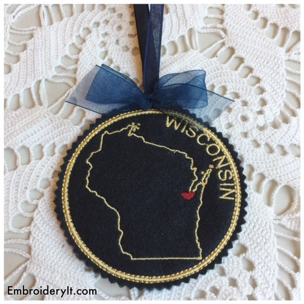 In the hoop Wisconsin machine embroidery Christmas ornament design
