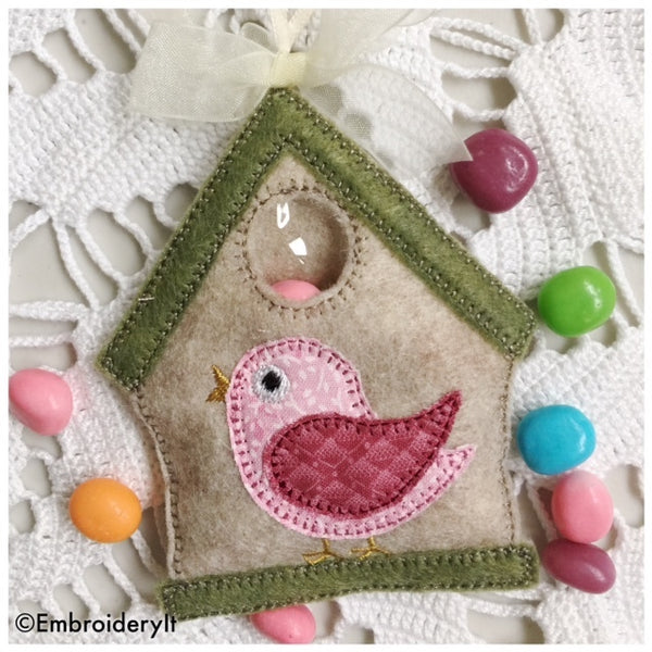 Machine Embroidery Birdhouse candy holder