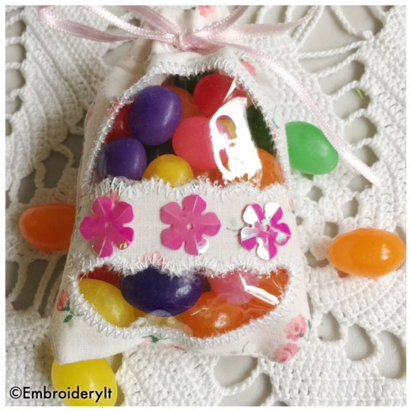 in the hoop machine embroidery Easter treat bag