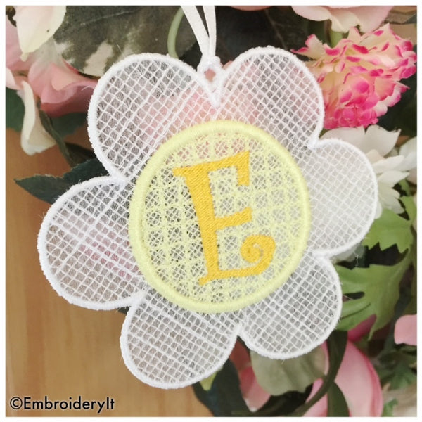 FSL machine embroidery flower alphabet set