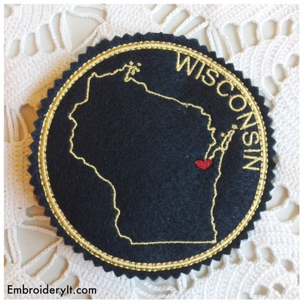 Machine Embroidery in the hoop Wisconsin coaster