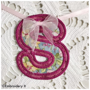 Letter S machine embroidery applique design
