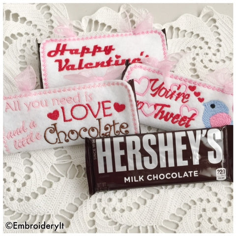 Machine embroidery in the hoop Valentine's day candy bar wrappers
