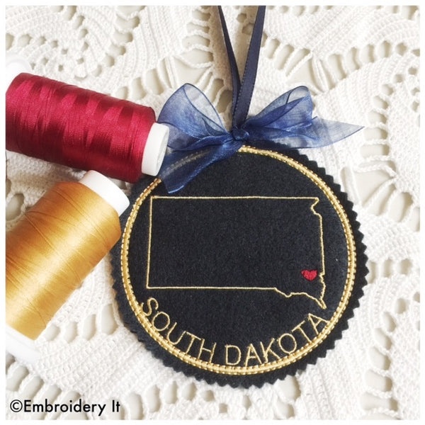 South Dakota machine embroidery in the hoop Christmas ornament