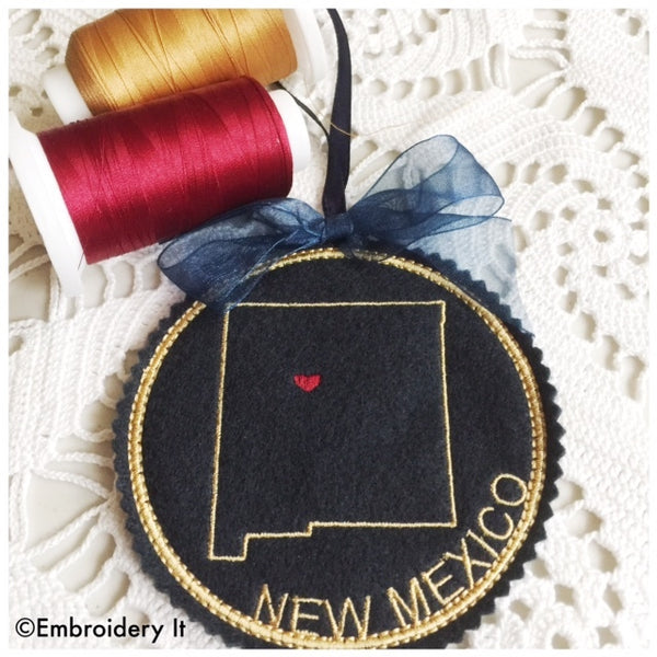 New Mexico in the hoop Christmas Ornament Machine embroidery design