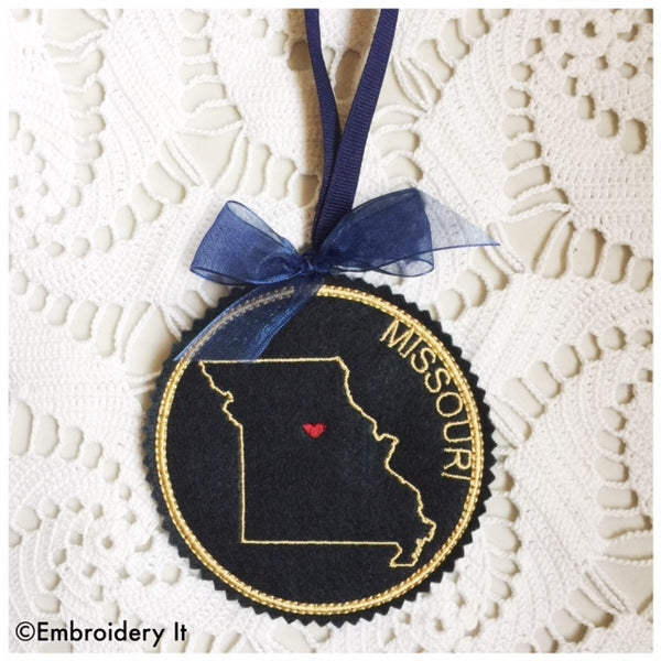 In the hoop Missouri ornament