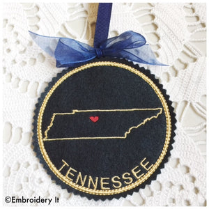 In the hoop Tennessee machine embroidery Christmas coaster