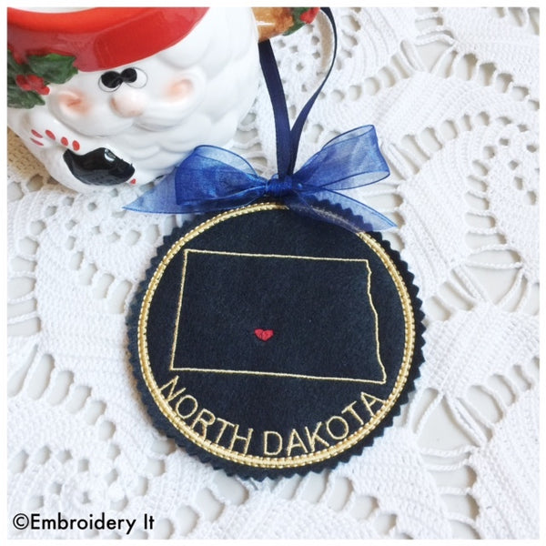 North Dakota Christmas Ornament machine embroidery design