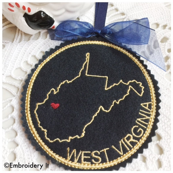 Machine embroidery in the hoop Christmas ornament pattern West Virginia