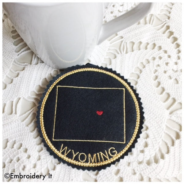 in the hoop Wyoming machine embroidery coaster pattern