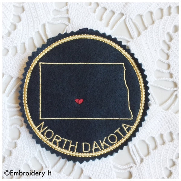 North Dakota machine embroidery pattern in the hoop coaster