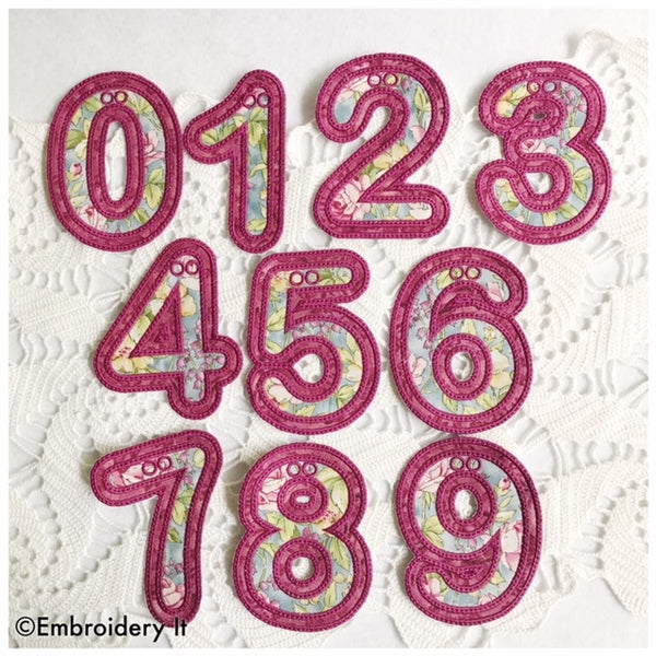 Applique machine embroidery number set