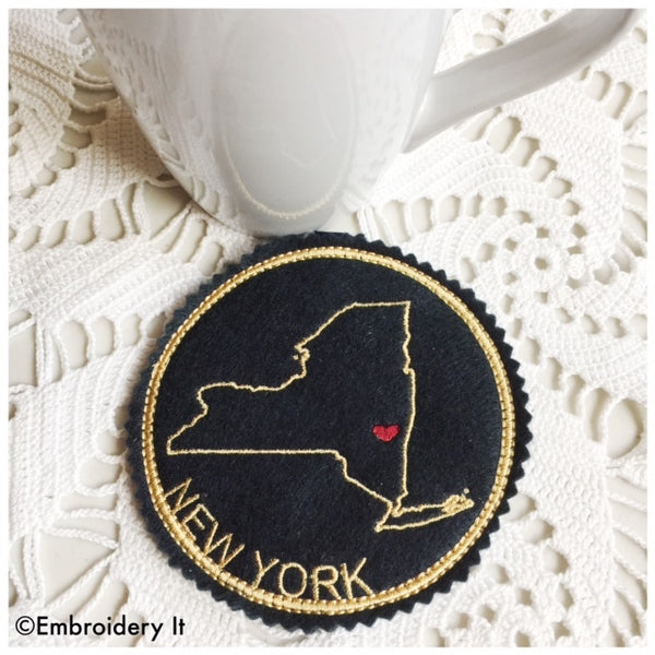 Machine Embroidery New York Coaster