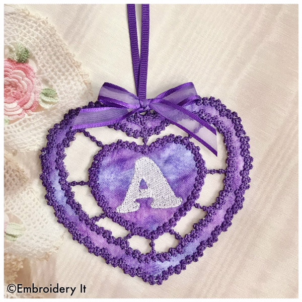 machine embroidery cutwork gift tag letter A