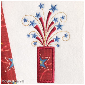 Applique firecracker machine embroidery design
