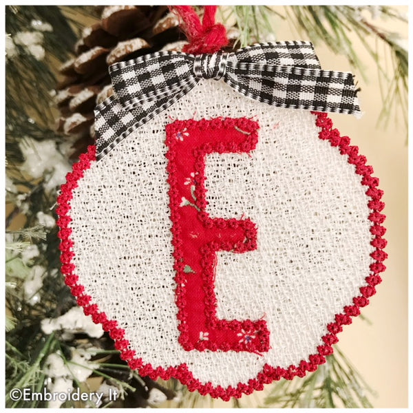 free standing lace applique ornament and gift tag letter E