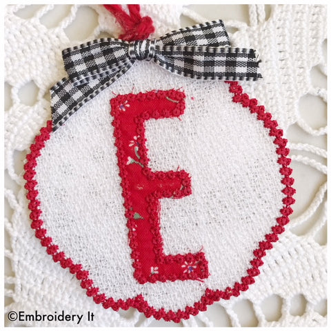 Free standing lace applique Christmas ornament letter E