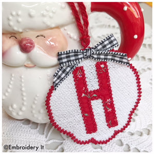 Free Standing lace applique Christmas ornament letter H